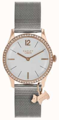 Radley Senhoras swarovski cristais mostrador branco prateado RY4351