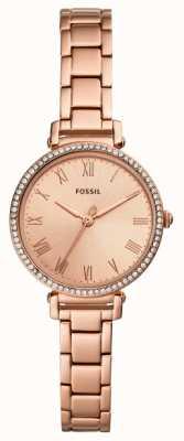 Fossil | mulheres | kinsey | conjunto de cristal | rosa relógio de tom de ouro | ES4447