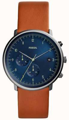 Fossil Perseguição dos homens assistir pulseira de couro marrom mostrador azul FS5486