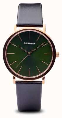 Bering Clássico | pulseira preta de ouro rosa polida 13436-469