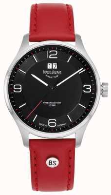 Bruno Sohnle Mens padua | mostrador preto | pulseira de couro vermelho 17-13199-765
