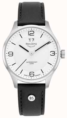 Bruno Sohnle Mens padua | mostrador branco | pulseira de couro preto 17-13199-961