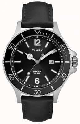 Timex | homem | indiglo harbourside | mostrador preto | couro preto | TW2R64400D7PF