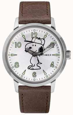 Timex Snoopy welton prata mostrador pulseira de couro marrom TW2R949007U