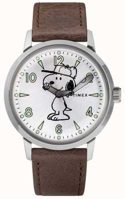 Timex Snoopy welton mostrador prateado pulseira de couro marrom TW2R94900