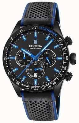 Festina Cronógrafo masculino com mostrador preto pulseira de couro preta F20359/3