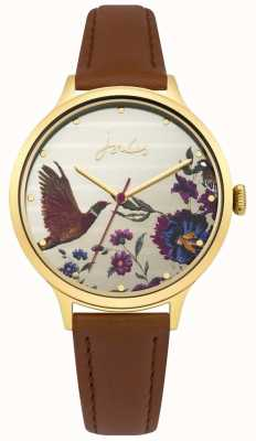 Joules Womens pulseira de couro marrom pippa dial floral JSL002TG