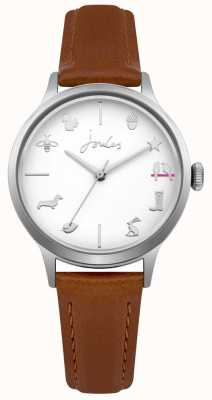 Joules das mulheres tan pulseira de couro mostrador branco JSL011T