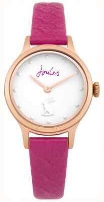 Joules Womens jackie pulseira de couro roxo mostrador branco JSL007PRG