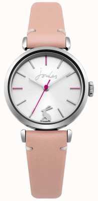 Joules Pulseira de couro rosa das mulheres prata sunray dial JSL004P