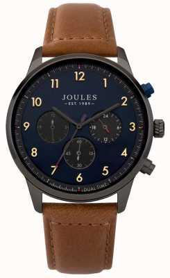 Joules Mens pulseira de couro marrom azul cronógrafo JSG007TB