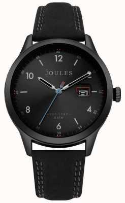 Joules Mens sanderson pulseira de couro preto mostrador preto JSG004BB