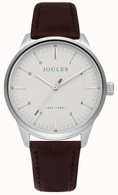 Joules Mens marrom pulseira de couro fosco creme de discagem JSG002BR