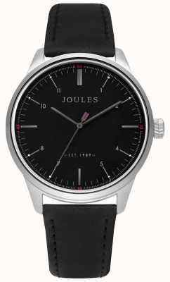 Joules Mens pulseira de couro preto fosco mostrador preto JSG002B