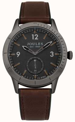 Joules Mens ryley pulseira de couro marrom mostrador preto JSG006BRB