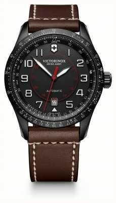 Victorinox Swiss Army Mens airboss slide régua marrom pulseira de couro mostrador preto 241821