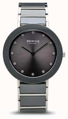 Bering Cinza de aço inoxidável cinza pulseira de discagem de cerâmica 11435-789