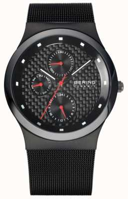 Bering Mens pulseira de malha preta de cerâmica pulseira preta 32139-309