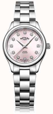 Rotary Pulseira feminina de aço inoxidável com mostrador oxford rosa diamante LB05092/07/D
