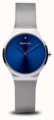 Bering Clássico | rosto azul prateado polido 12131-007
