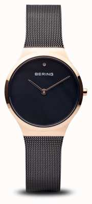 Bering Clássico | ouro rosa preto polido, cara preta 12131-166