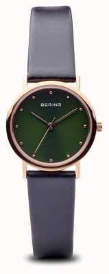 Bering Clássico | polido ouro rosa pulseira preta mostrador verde 13426-469