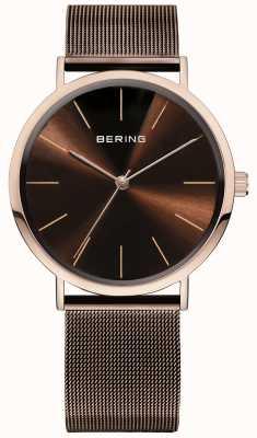 Bering Relógio de coleção clássico com banda de malha e scratch resista 13436-265