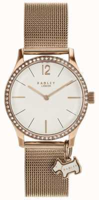 Radley Millbank dog charm rose ouro pulseira de malha relógio RY4286