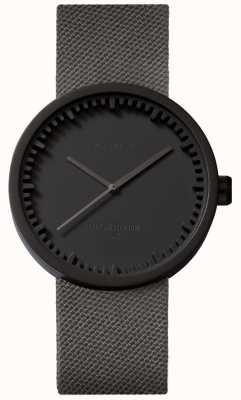 Leff Amsterdam Relógio de tubo d38 | cordura preto fosco | cinta cinza LT71015