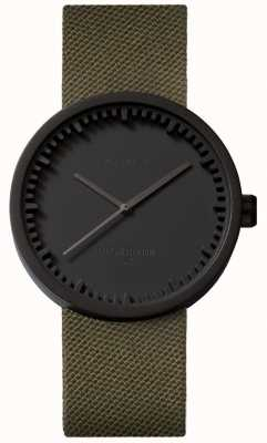 Leff Amsterdam Relógio tubo d38 cordura fosco preto caso cinta verde LT71014
