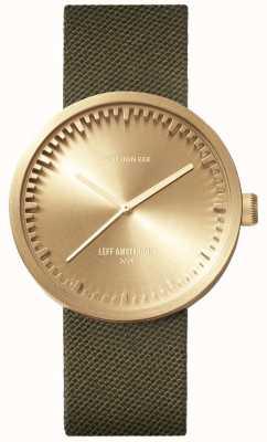 Leff Amsterdam Relógio de tubo d38 | latão cordura | cinta verde LT71024