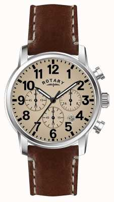 Rotary Mens pulseira de couro de quartzo cronógrafo mostrador branco GS00430/31