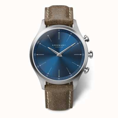 Kronaby Mens sekel 41 | mostrador azul | pulseira de couro de trufas A1000-3759