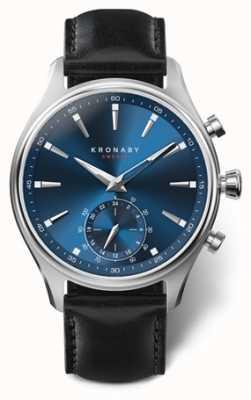 Kronaby Mens sekel 41 | aço inoxidável | mostrador azul | couro preto A1000-3758