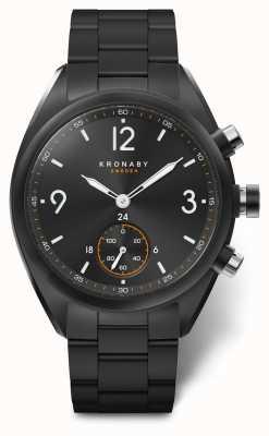 Kronaby Mens apex 41 bluetooth aço inoxidável preto discagem / pulseira A1000-3115