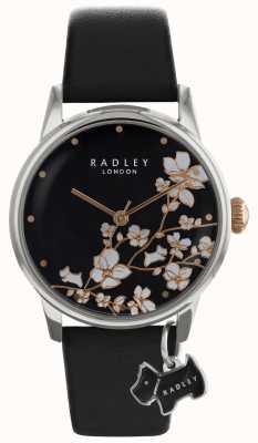 Senhoras Radley | impressão de flores | mostrador preto | pulseira de couro RY2687