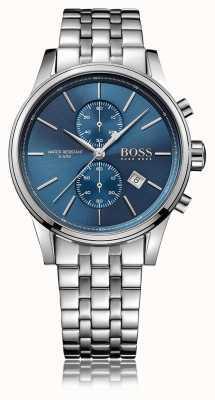 Hugo Boss Mens jet crono pulseira de aço inoxidável mostrador azul 1513384
