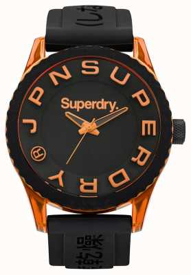 Superdry Tóquio | pulseira de silicone preta | mostrador preto | acentos laranja SYG145BOA