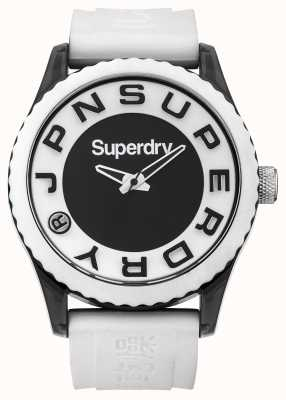 Superdry Urban | pulseira de silicone branco | mostrador preto e branco SYG145WA