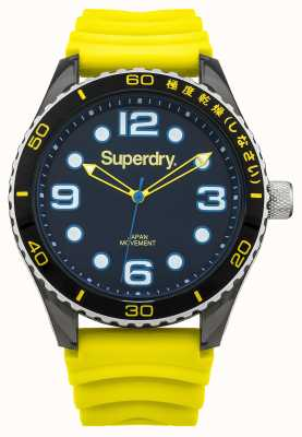 Superdry Pulseira de silicone amarelo | mostrador preto | acentos azuis SYG163YA