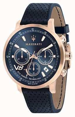 Maserati Mens gt 44mm | solar | caso de ouro rosa | mostrador azul | couro R8871134003