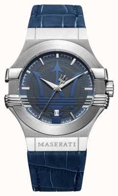 Maserati Mens potenza 42mm | aço inoxidável | mostrador azul | cinta azul R8851108015