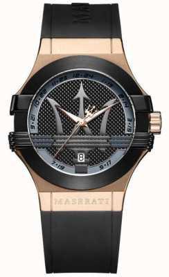 Maserati Mens potenza analógico | mostrador preto | pulseira de couro preto R8851108002