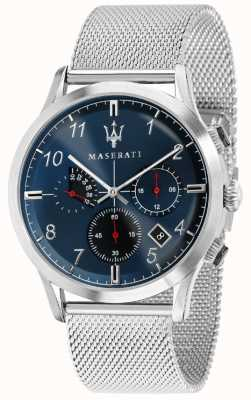 Maserati Mens ricordo 42mm | mostrador azul | pulseira de malha de aço inoxidável R8873625003