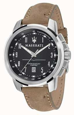 Maserati Mens successo 44mm | mostrador preto | pulseira de couro tan R8851121004