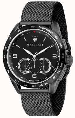 Maserati Mens traguardo 45mm | mostrador preto | pulseira de malha preta R8873612031