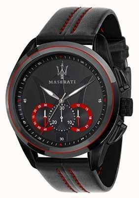 Maserati Mens cronógrafo tragudia | mostrador preto | couro preto R8871612023
