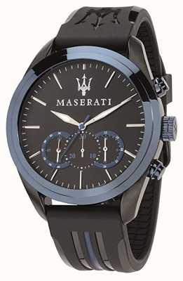 Maserati Mens cronógrafo tragudia | mostrador azul | silicone preto R8871612006