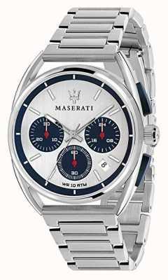 Maserati Mens trimarano 41mm | mostrador prateado / azul | aço inoxidável R8873632001