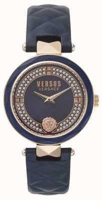 Versus Versace Jardim covent das mulheres | mostrador azul swarovski | couro azul VSPCD2817